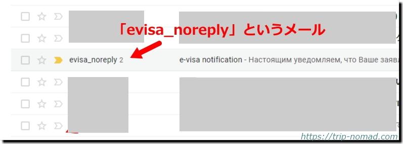 ロシアウラジオストク「電子簡易ビザ申請」自動返信メール画像