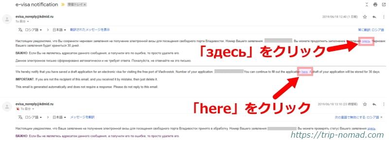 ロシアウラジオストク「電子簡易ビザ申請」自動返信メール内容画像