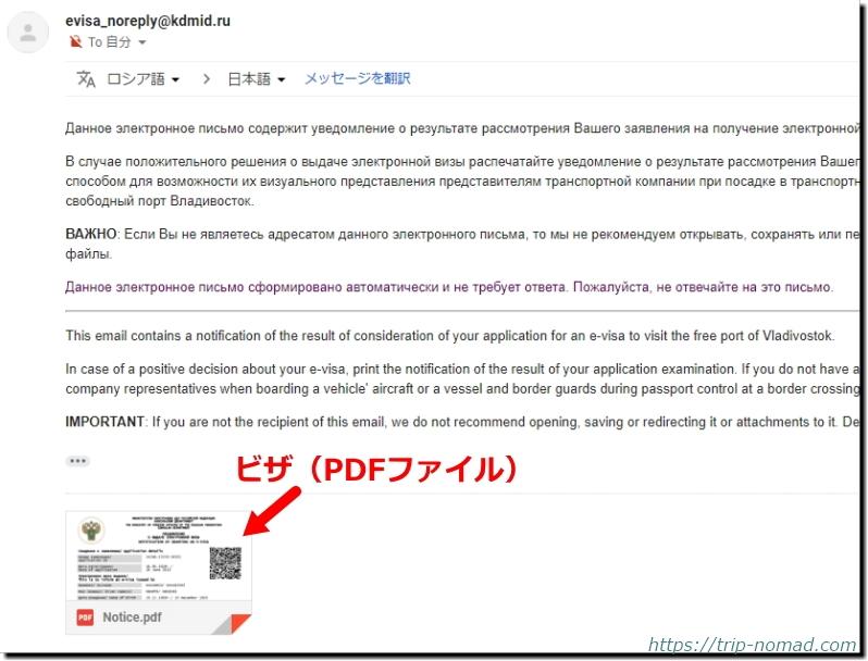 ロシアウラジオストク「電子簡易ビザ申請」メールに添付されたビザ(PDFファイル)画像