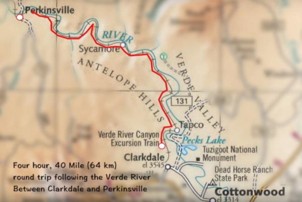 『ヴェルデキャニオン鉄道(Verde Canyon Railroad)』路線図画像